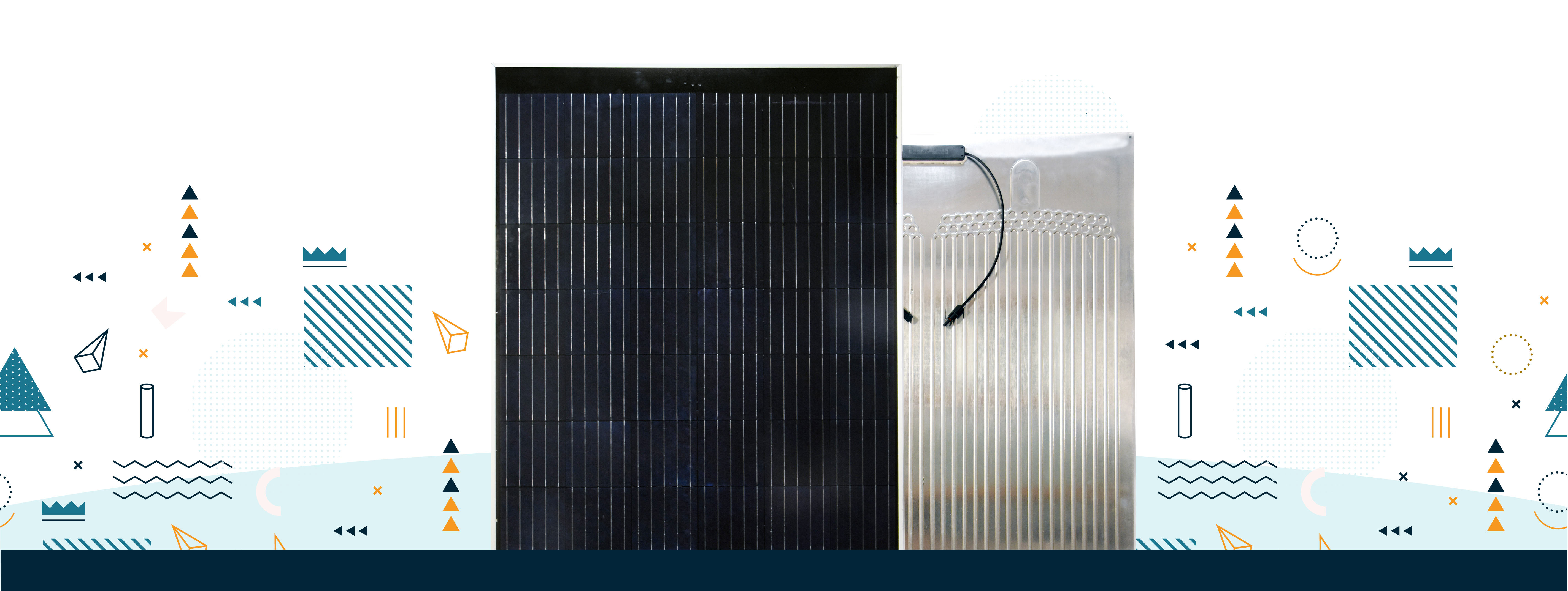 PVT solar hybrid panel, front and rear view